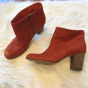 Cole Haan Orange chunky heel booties size 10.5